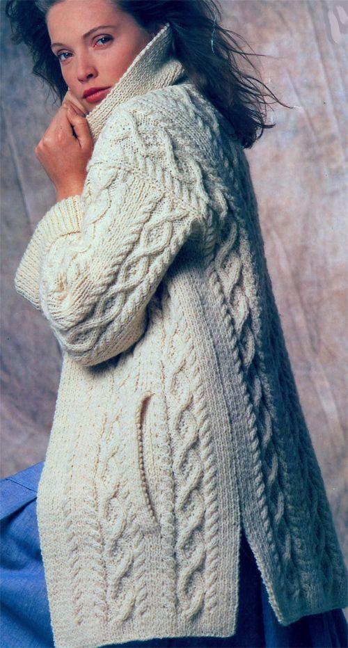 Knitting Pattern For Ladies Aran Sweater : Gorgeous ladies aran coat knitting pattern winter knit