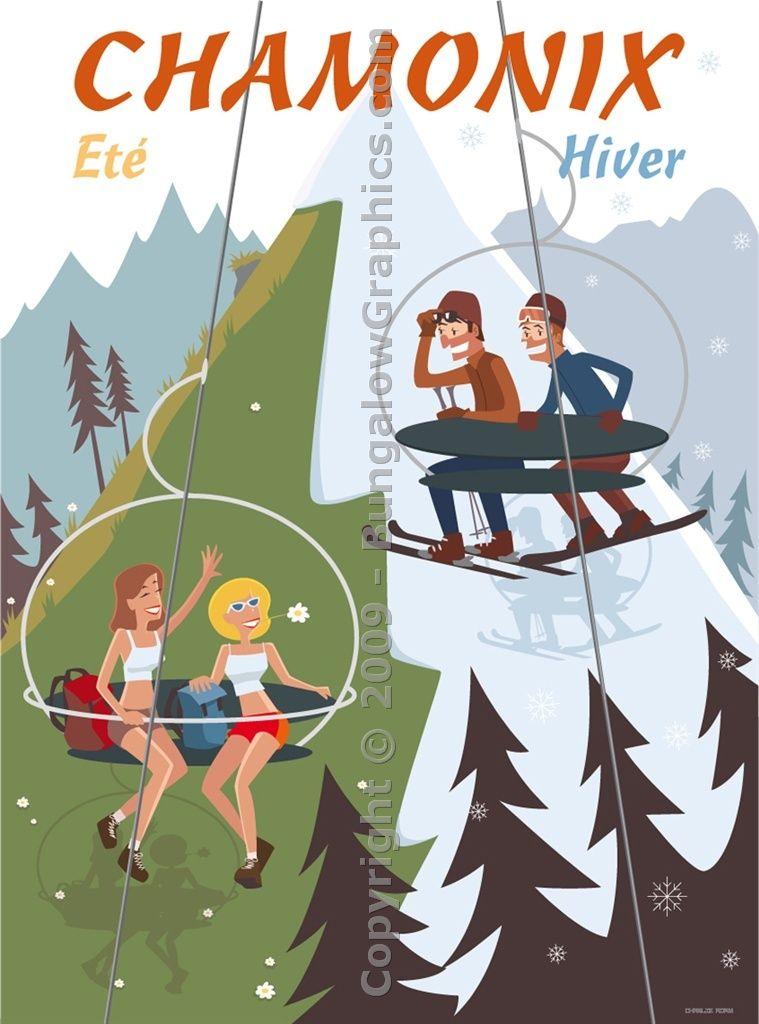 Affiche, poster, Chamonix, Eté-hiver, Haute-Savoie Alps