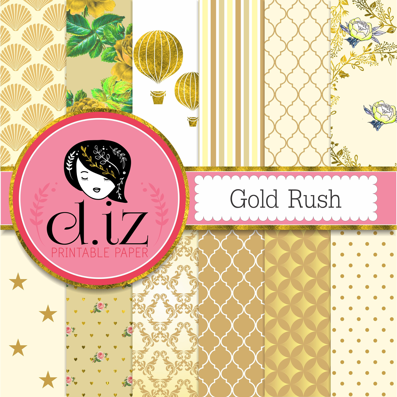 Gold Digital Paper Gold Rush 12 Gold Digital Papers