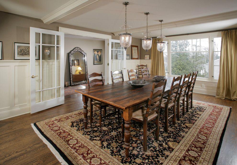Dark Wood Floors With Light Walls Dining Room Traditional Glass Doors Black Rug