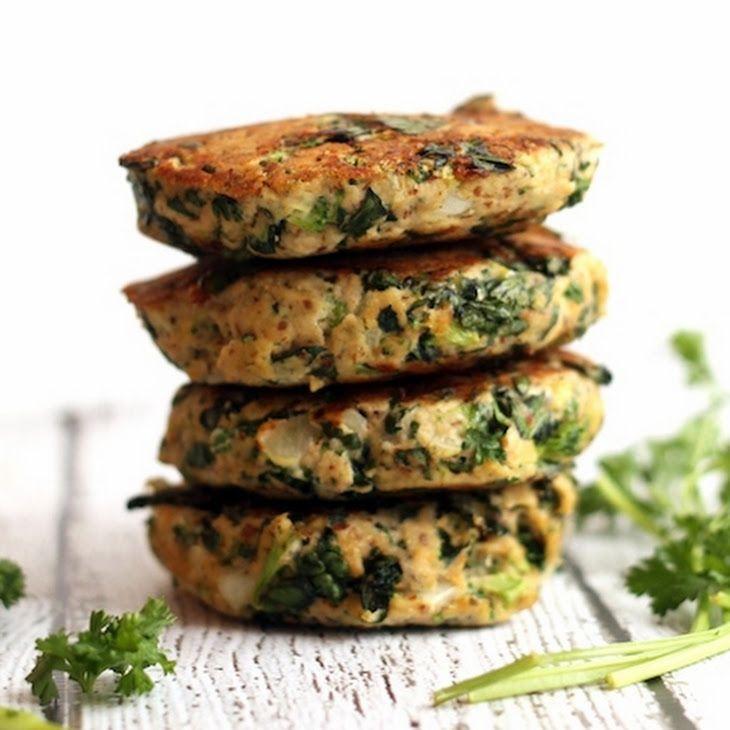 Kale and Broccoli Salmon Burgers Recipe Main Dishes with wild salmon, almond meal, eggs, lemon juice, salt, garlic powder, pepper, kale, broccoli florets, chopped onion, chopped parsley