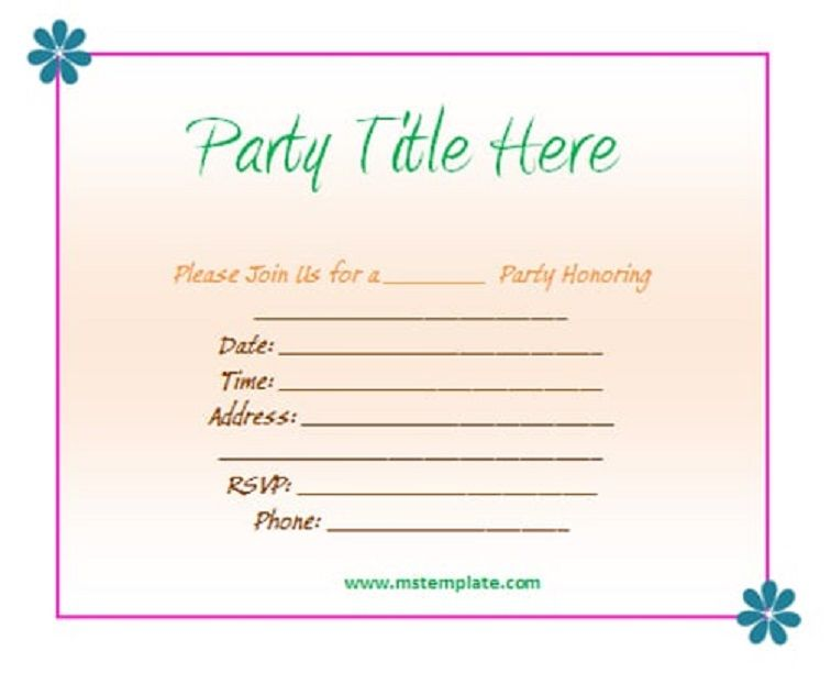 Party Invitation Template Word With Images Invitation