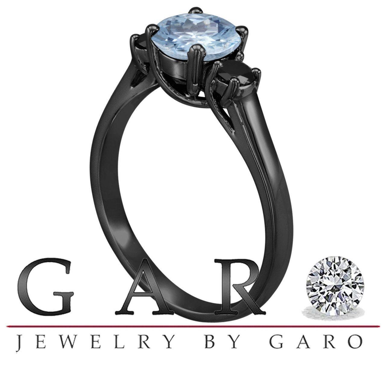Aquamarine And Black Diamonds Three Stone Engagement Ring Vintage Style 14K Black Gold 1.16 Carat Birthstone