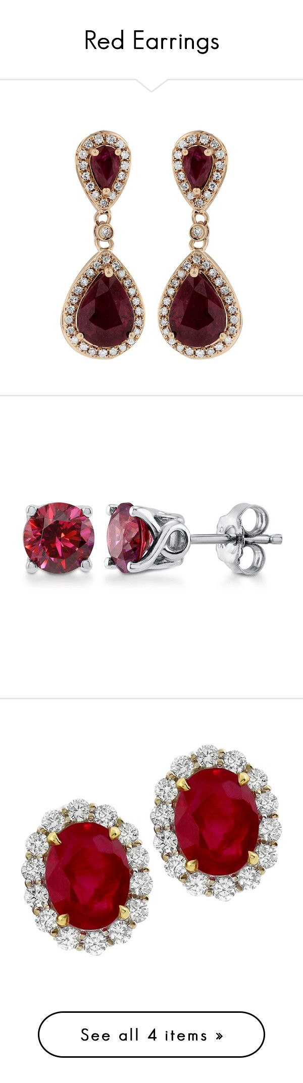 """Red Earrings"" by mina-744 ❤ liked on Polyvore featuring jewelry, earrings, pandora jewelry, ruby earrings, red gold jewelry, diamond jewellery, ruby jewelry, accessories, red and sterling silver"
