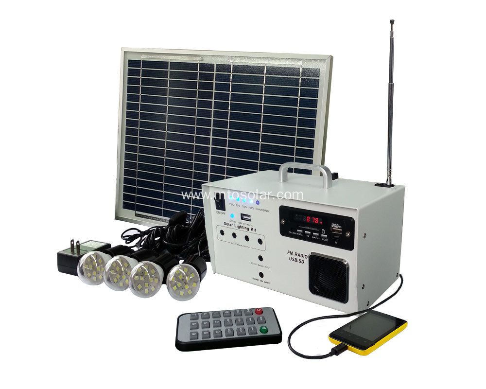 China New design green solar lighting FM radio kit for home use ...