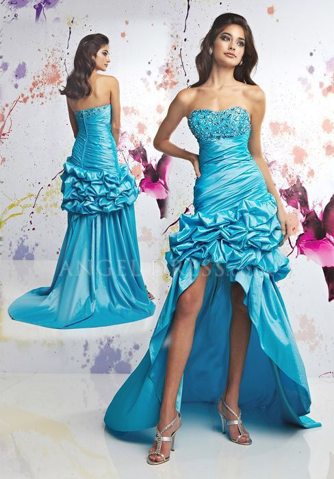 A line High Low Scoop Asymmetric Waist Taffeta With Pick ups Prom Gown