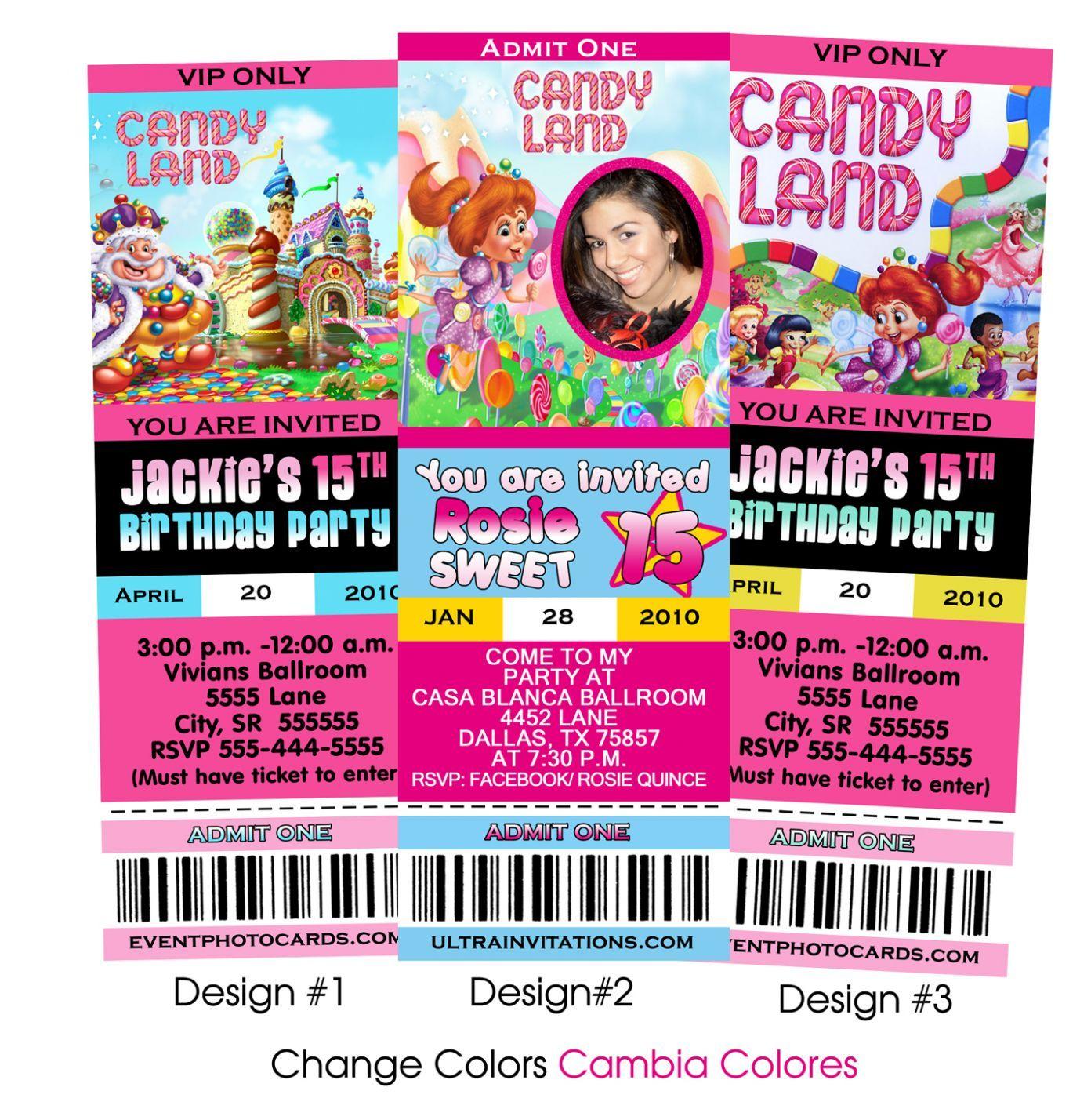 Candyland Ticket Invitation Candyland Inivitation Candyland – Vip Ticket Invitations