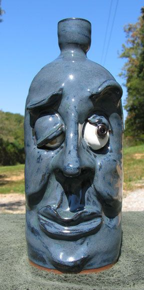 Southern Folk Art Pottery ugly FACE JUG handmade by vanhinestudios, $65.00