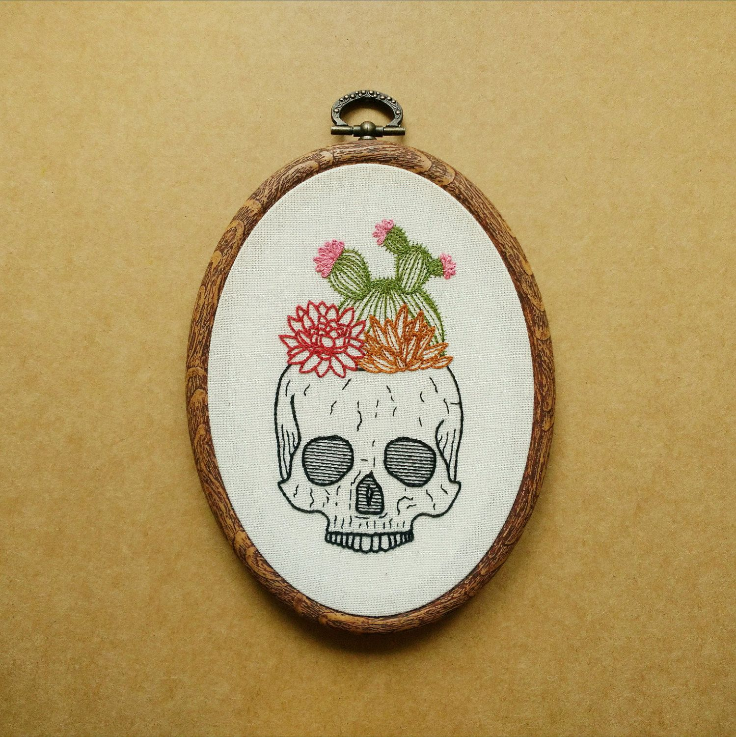 Cactus And Succulent Skull Planter Pot Hand Embroidery Hoop Art