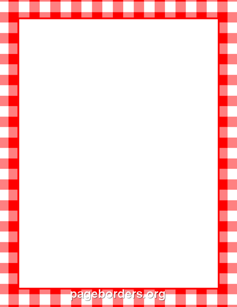 Printable menu border with a red and white gingham pattern for 48 hour print templates