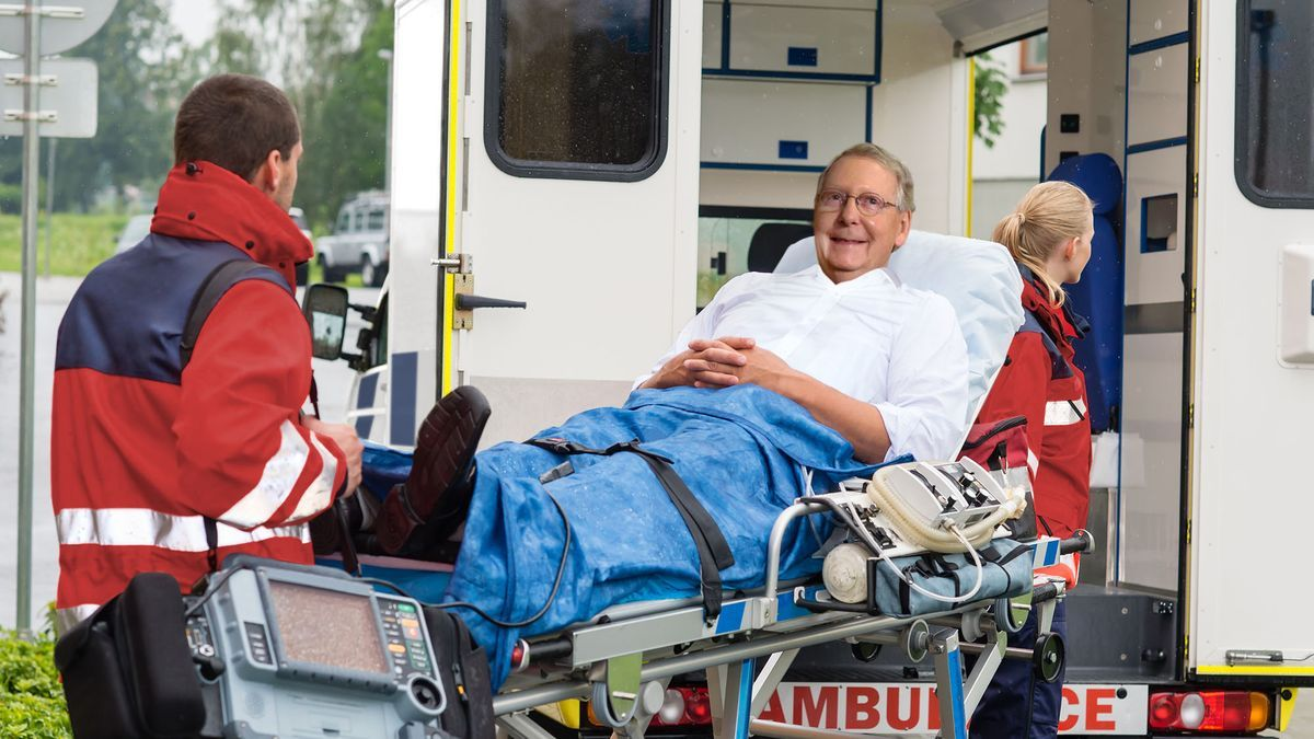 Babbling, Grinning Mitch McConnell Demands EMTs Loading