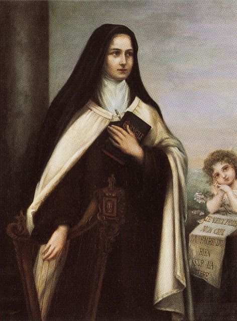 St. Thérèse of the Child Jesus and the Holy Face - Portrait by her sister Celine (Sister Genevieve) commissioned in 1907 European postcard Symbolism of harp: song of her heart as she poured out her life in prayer and sacrifice