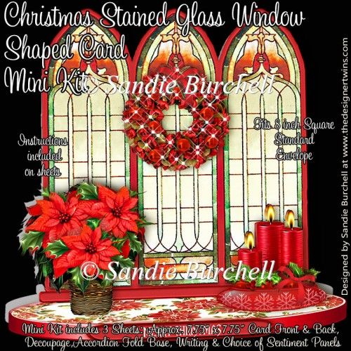 Christmas Stained Glass Window Shaped Card Mini Kit  The Designer