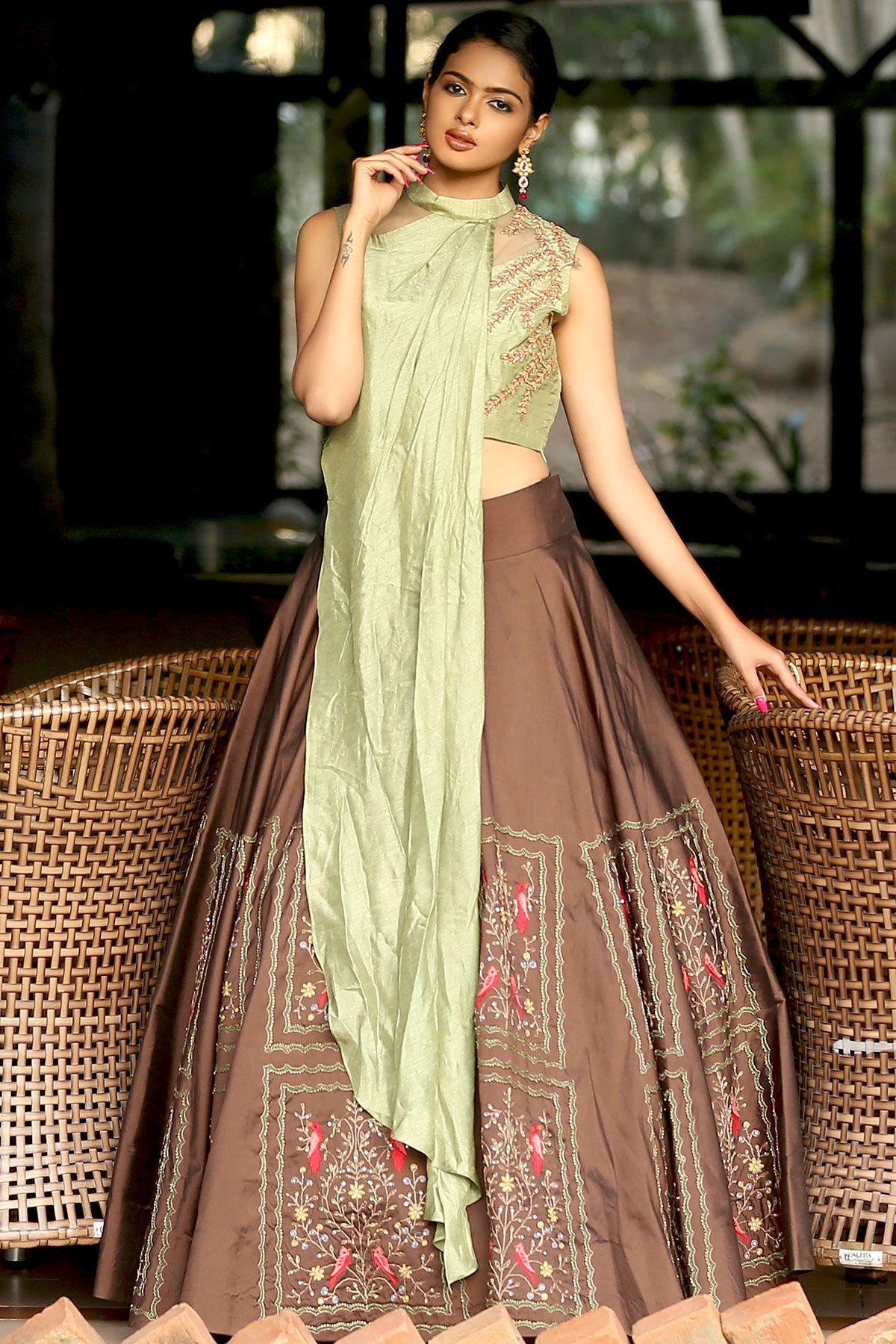 e49b393863 Buy Green & Brown Zardosi Embroidered Silk Bridesmaids Lehenga Online