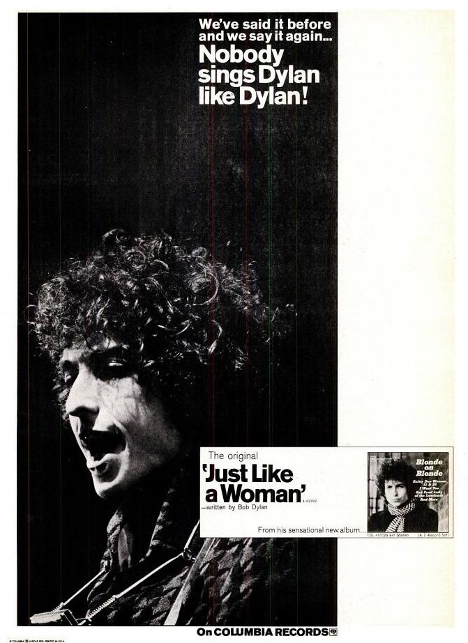 Bob Dylan Just Like A Woman Single Ad By Columbia Records
