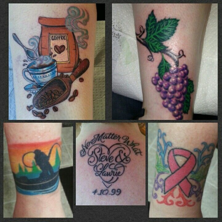 All five of my tattoos. #coffeetattoo #coffeeink #coffeeofcourse #coffeeaddict #coffeeforever #grapestattoo #grapesink #purple #purpleink #fishermantattoo #fishermanink #pinkribbontattoo #pinkribbonink #pinkink #pinkforareason #marriagetattoo #marriageink #nomatterwhat