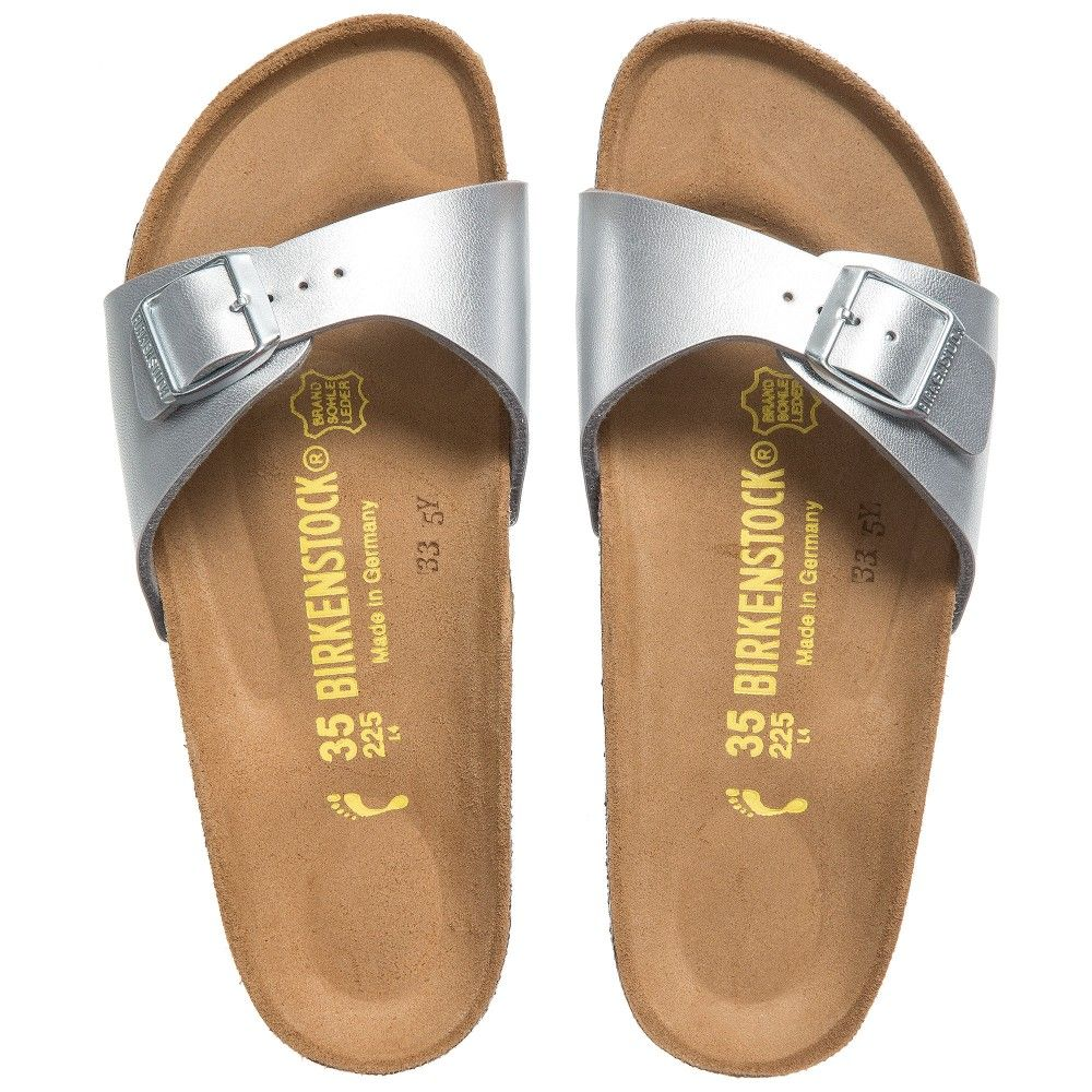 49dd4177b41a BIRKENSTOCK Girls Metallic Silver  Madrid  Sandals