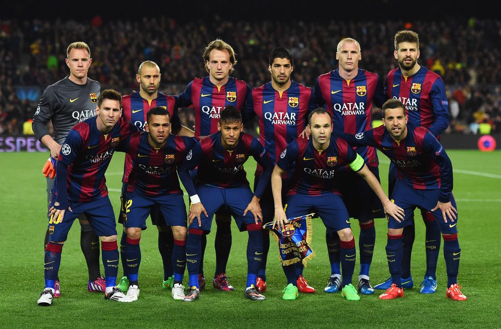 1c7b323a0 The Barcelona team line up prior to the UEFA Champions League Round of 16  second leg