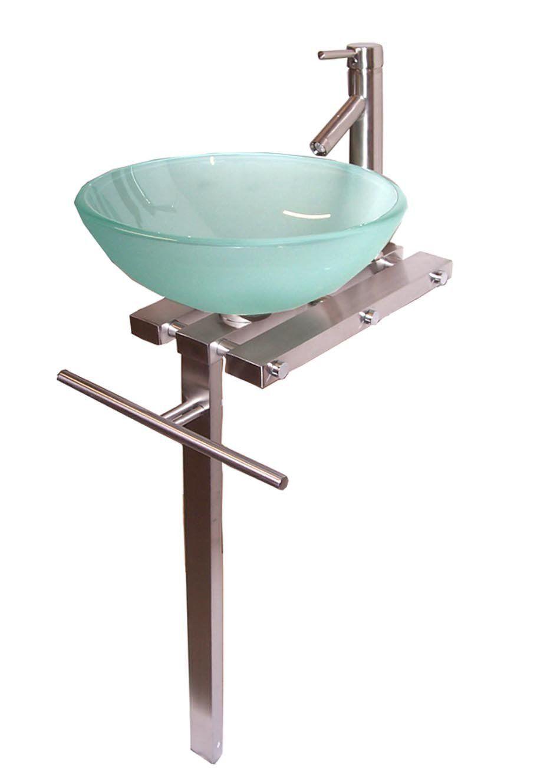 Contemporary Bathroom Vanities Pedestal Glass Bowl Vessel Sink Combo