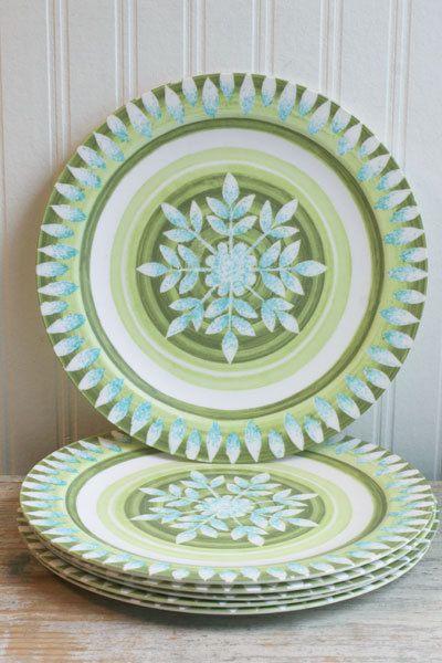 Melamine Plates set of 6 Vintage Melmac Green Blue retro dishes dinnerware & Melamine Plates set of 6 Vintage Melmac Green Blue retro dishes ...