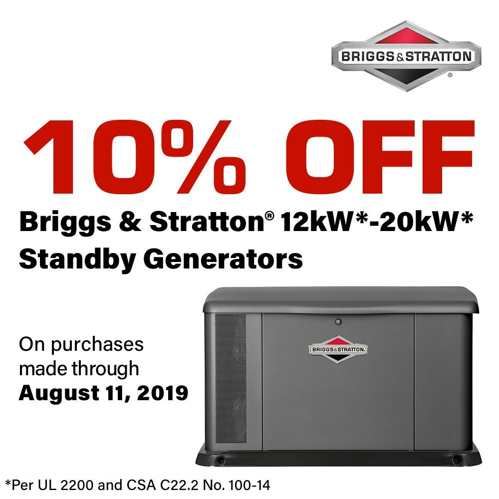 Briggs Stratton 17 000 Watt Air Cooled Home Standby Generator With 200 Amp Symphony Ii Transfer Switch 040555 Transfer Switch Air Conditioning Units Emergency Generator