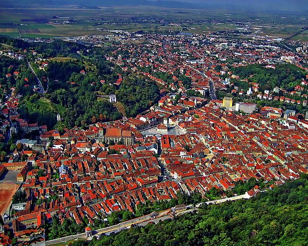 Aerial View Of Brasov Regarded As The Most Beautiful Town Romania