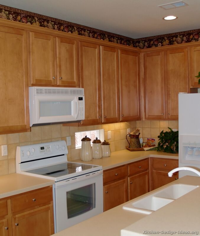 White Kitchen Appliances With Wood Cabinets traditional light wood kitchen cabinets with white appliances