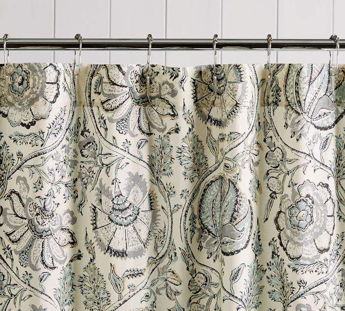 Haylie Print Organic Shower Curtain Waffle Weave Shower Curtain