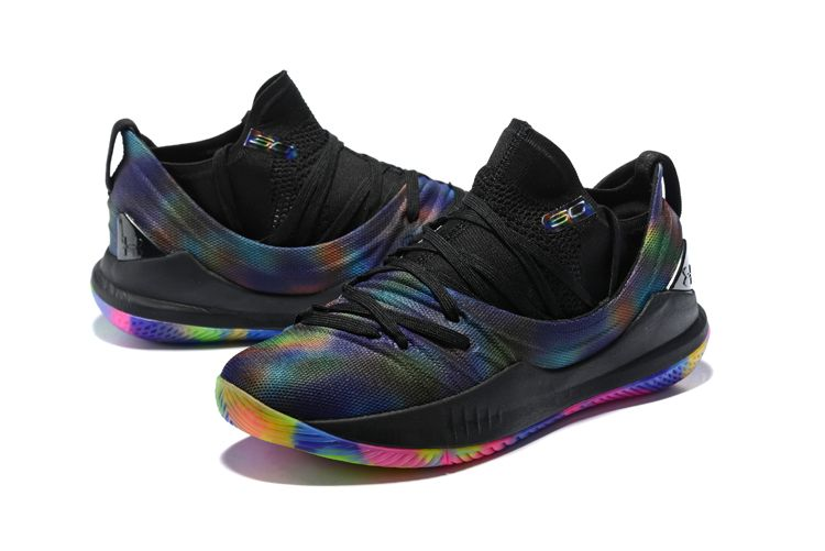 "10fa098b9614 Under Armour Curry 5 ""Be True"" Black Multi-Color Basketball Shoes ..."