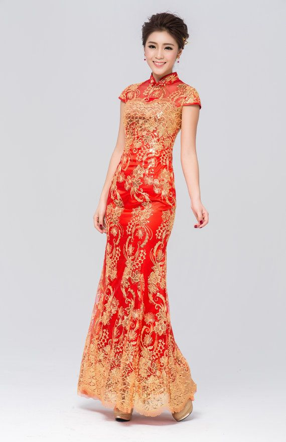 Traditional Gold Red Qipaofloral Chinese By Designbridal On Etsy