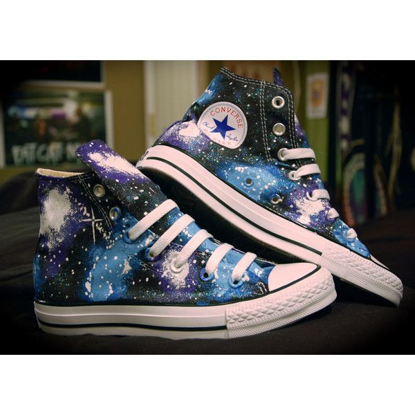 Blue and Purple Galaxy Converse High Tops ($110) ❤ liked on Polyvore