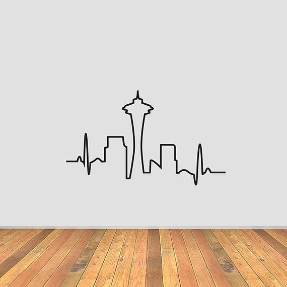 This is a Seattle Skyline Heartbeat vinyl decal.    Pictures shown are not to scale. Please contact for custom sizes.    Perfect for laptops,