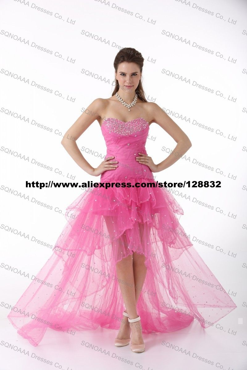 Real photo high low prom dress formal evening dresses special