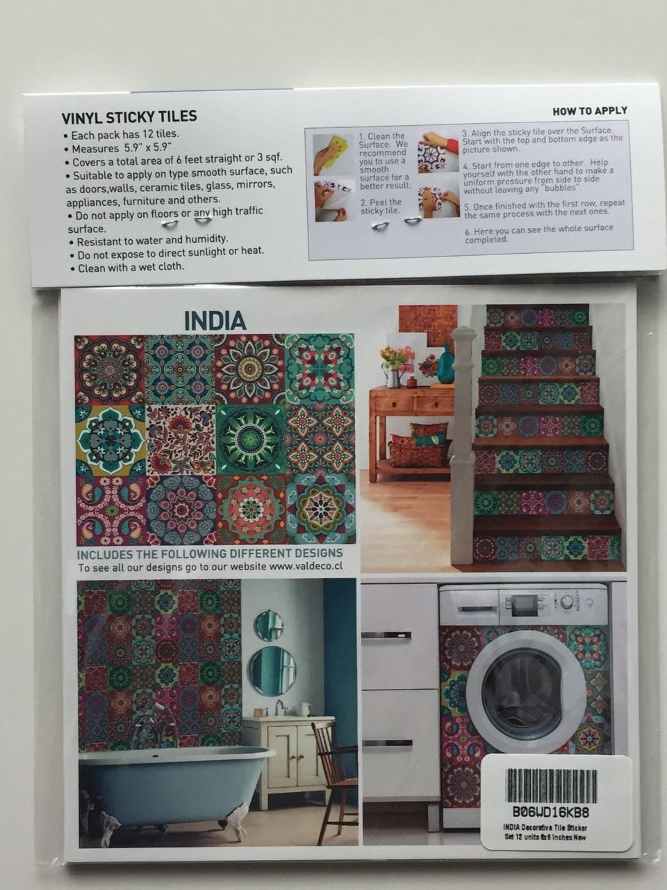 amazon com india decorative tile stickers set 12 units 6x6 inches