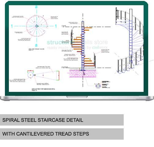 Spiral Steel Staircase Detail In 2020 Cantilever Stairs | Helical Staircase Structural Design