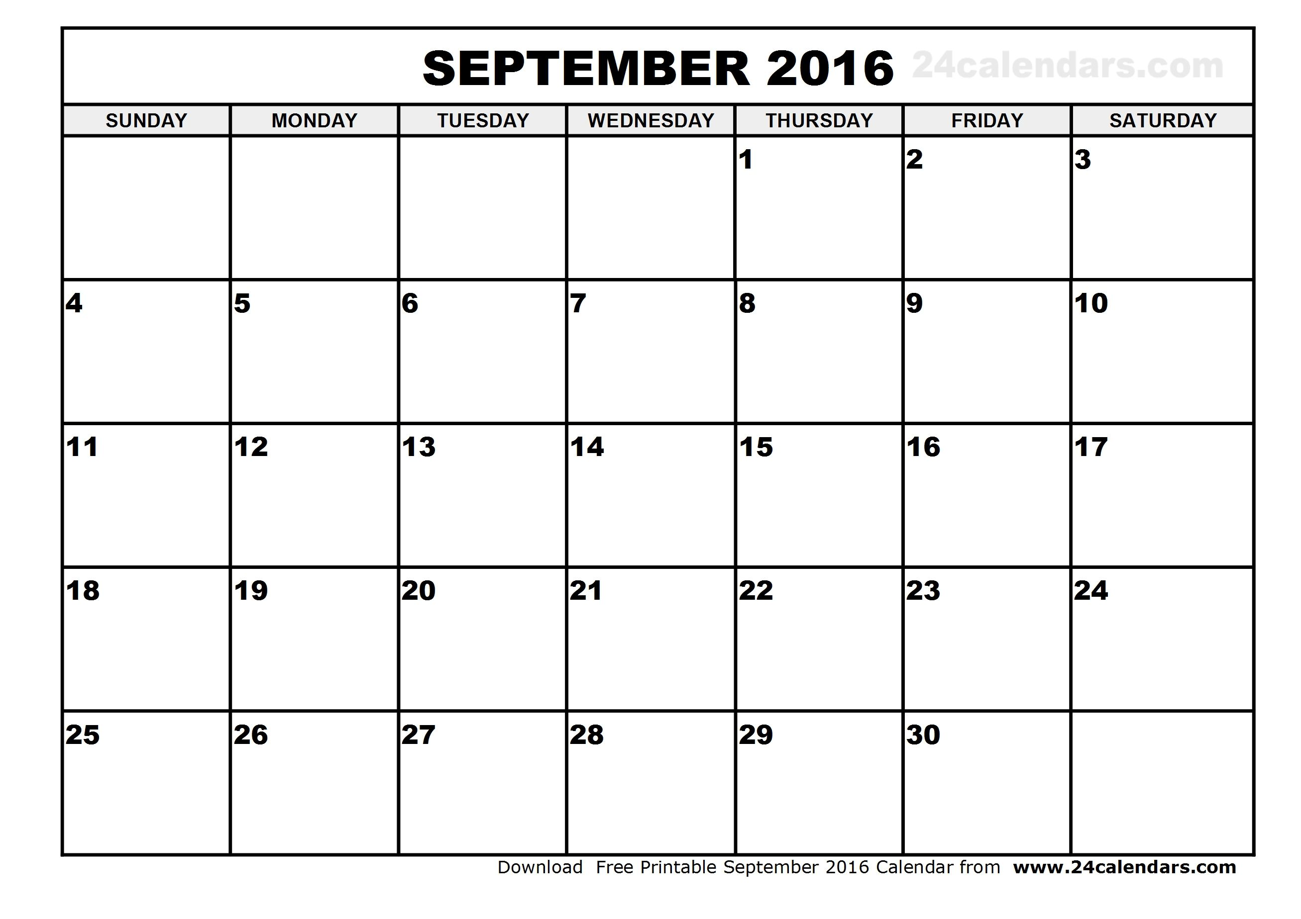 September 2016 Blank Calendar June Calendar Printable