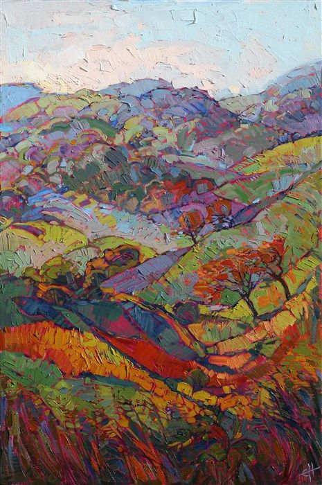Hills of Burgundy - Modern Impressionism | Contemporary Landscape Oil Paintings for Sale by Erin Hanson