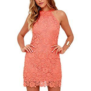 043570c5dbea22 Lamilus Women s Casual Sleeveless Halter Neck Party Lace Mini Dress ...