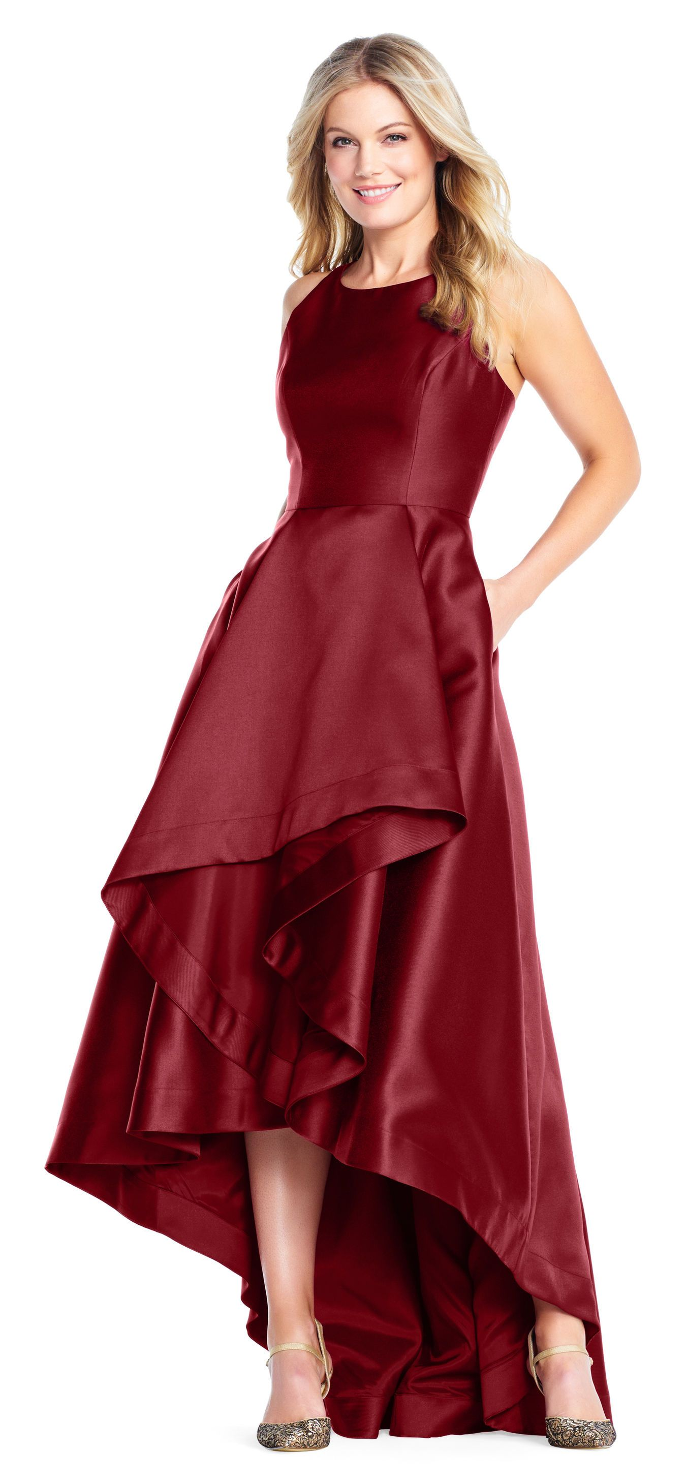 cf69c91f High Low Mikado Gown with Asymmetrical Detail | Dresses | Garnet ...