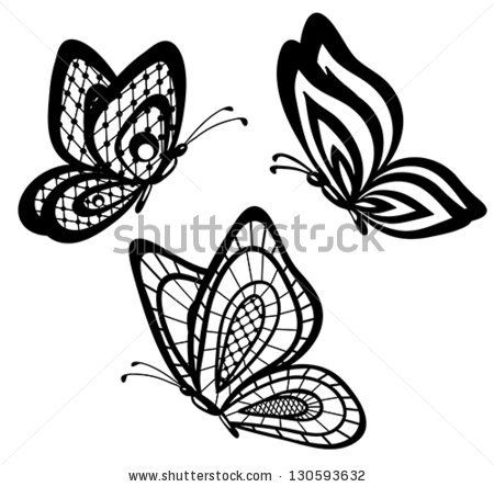 7bd6381653959 set of beautiful black and white guipure lace butterflies. Many  similarities to the author's profile - stock vector