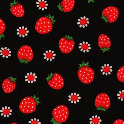 Lecien Strawberry Dots Fabric Polka Dot Strawberries and Daisies on Black
