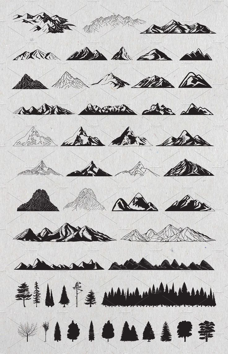 Hand Drawn Mountains and Trees 1