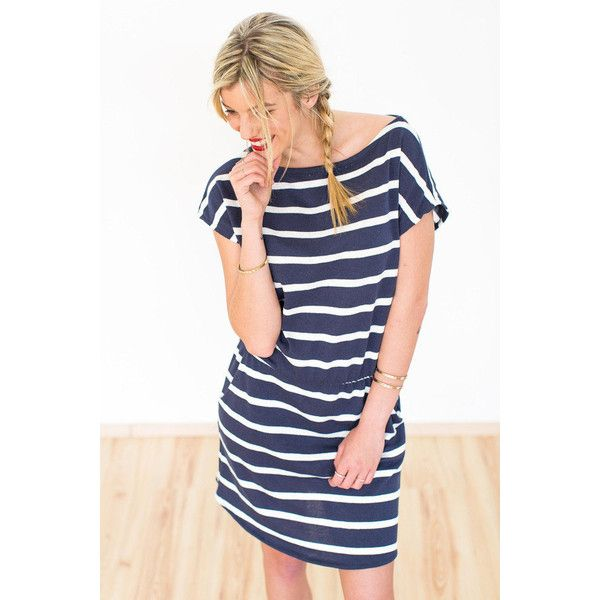 Dress Baloux Blue Nautical ($48) ❤ liked on Polyvore featuring dresses, black, women's clothing, boat neck dress, nautical dress, game day dresses, blue summer dress and black day dress