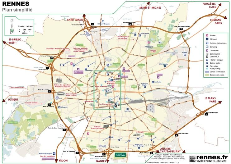 Rennes tourist map Maps Pinterest Tourist map Rennes and France