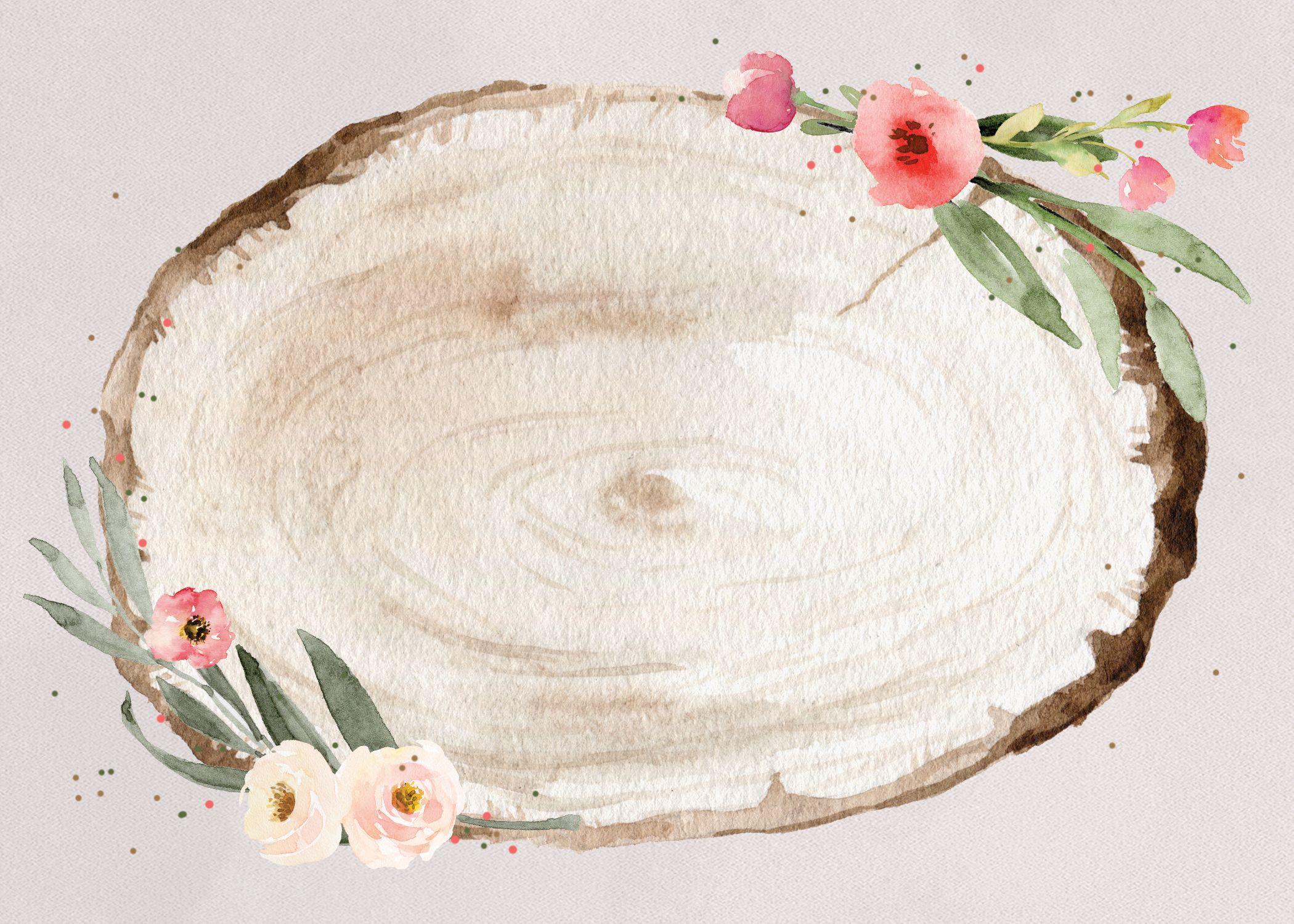 Floral Wood Slice Rsvp Card Template Free Greetings Island Floral Poster Flower Background Wallpaper Floral Logo Design
