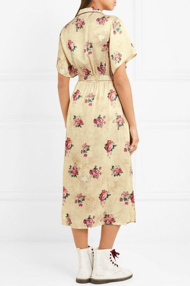 Vanilla Belted Floral-print Satin Midi Dress - Cream Golden Goose e4IL2qn