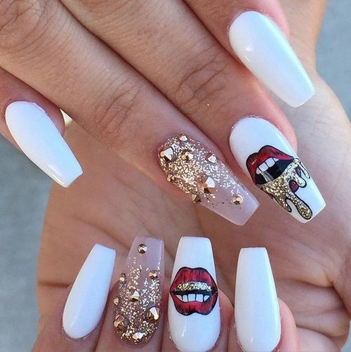 long white red lips gold nail art design - Long White Red Lips Gold Nail Art Design Coffin Nails In 2018
