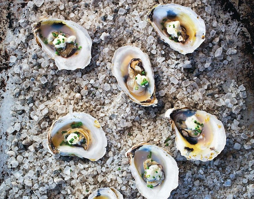 Roasted Oysters with Fresh Cheese Andrew ZimmernAndrew