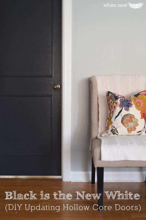 DIY Updating Hollow Core Doors | White Nest | Black Interior Doors |  Benjamin Moore Graphite #interiordesign #DIY #renovate Design Inspirations