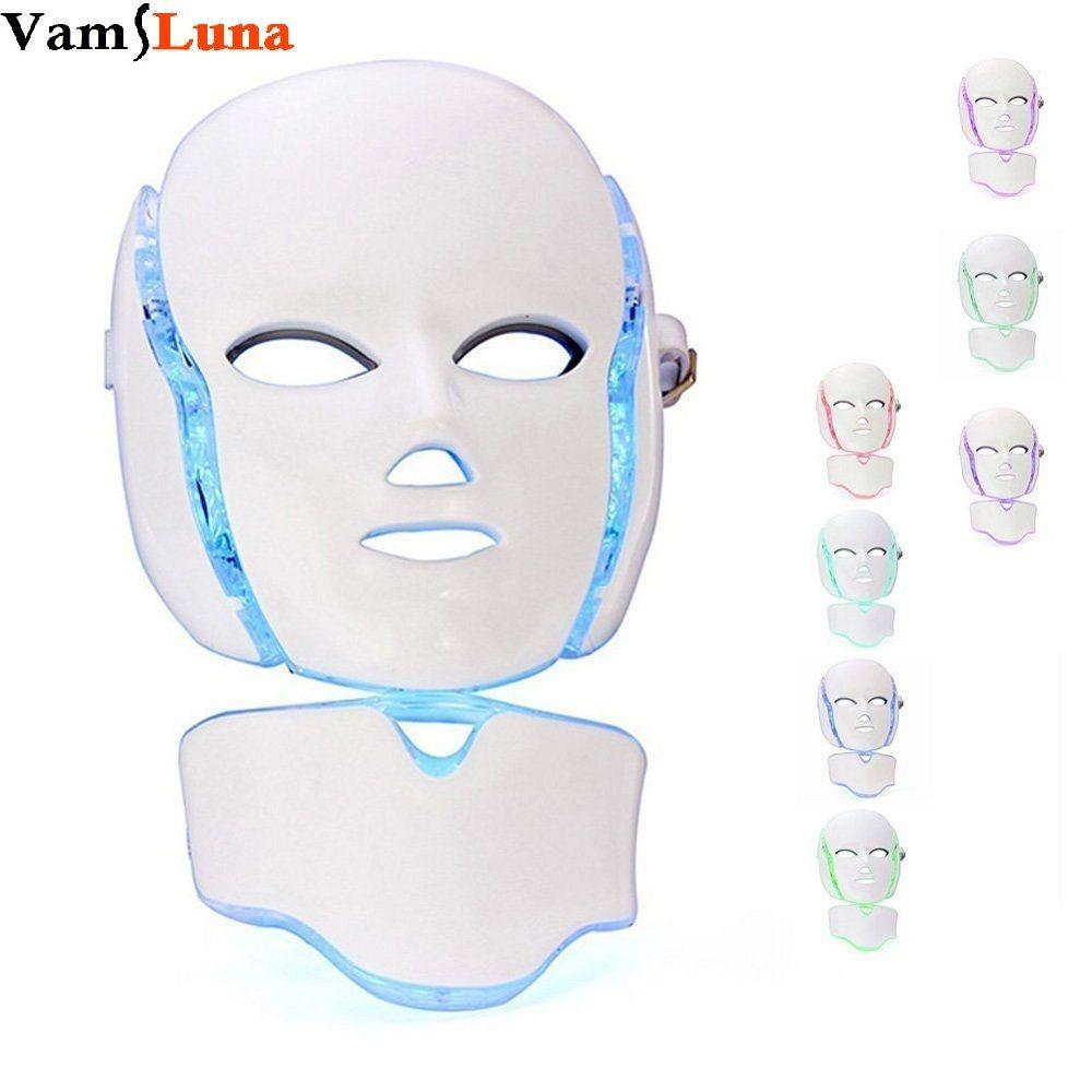 Sale 7 Color Photon LED Facial Neck Mask For Skin Rejuvenation Anti ...